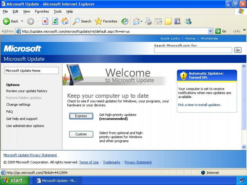 Обновления в Windows XP