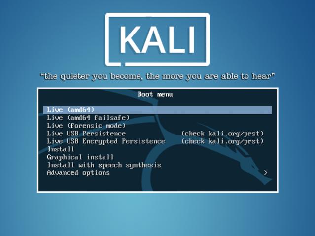 Запуск kali linux