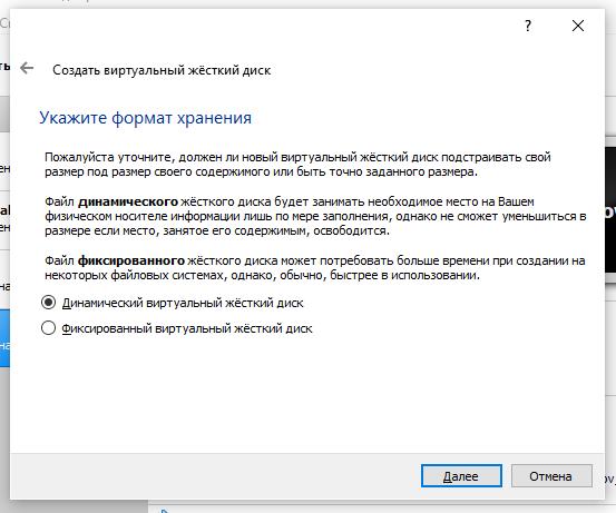 VirtualBox установка Windows 10 Формат хранения