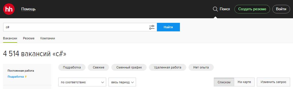 C# hh.ru